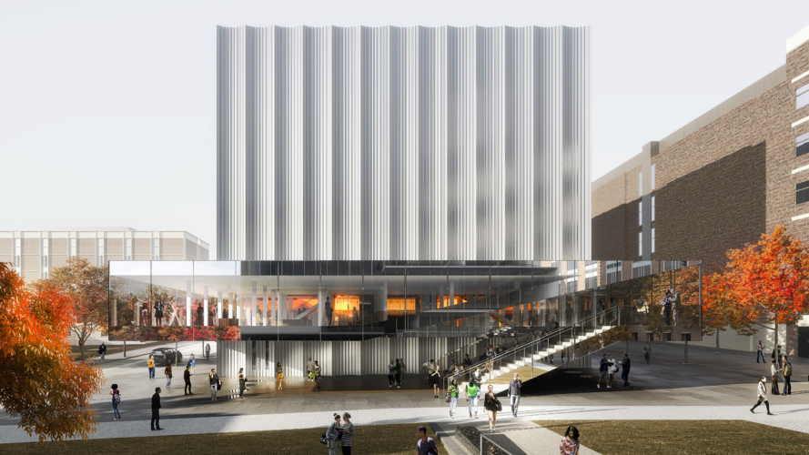 Rendered view of exterior - Brown University Performing Arts Center