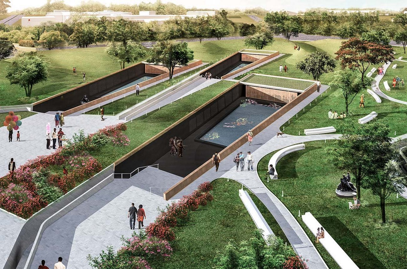 Rendered view of the site - National War Museum and Memorial