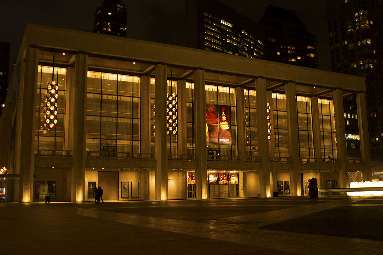 The exterior viewed in the night - David H. Koch Theater