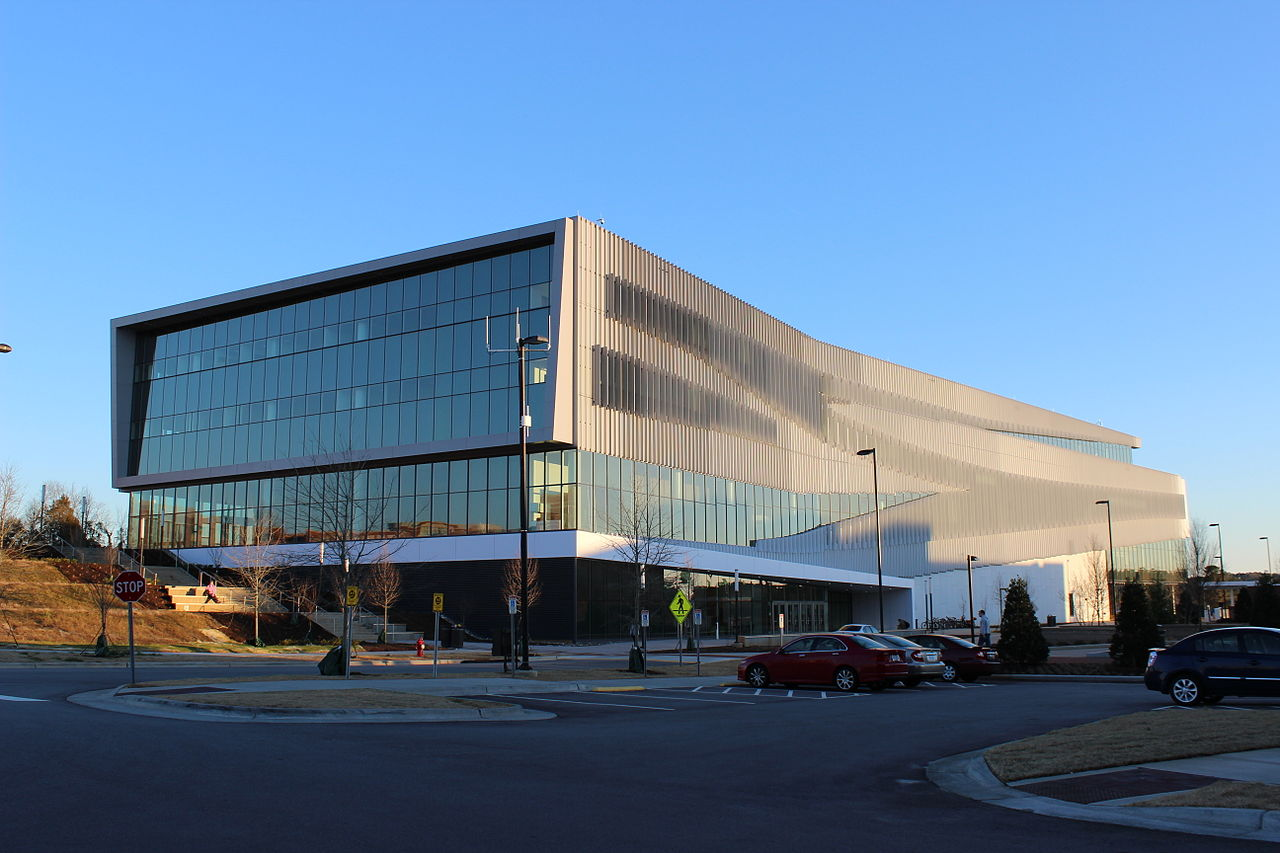 Exterior view shows the contemporary design of library- James B. Hunt Jr. Library