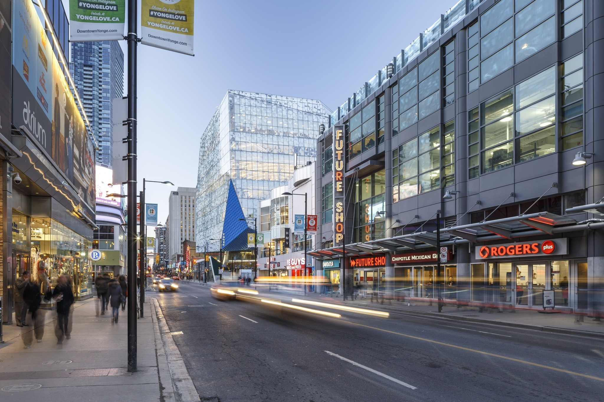 View of campus from the bay street - Ryerson University Student Learning Centre